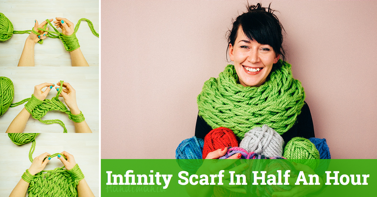 Infinity Scarf In Half An Hour – Hand Knitting