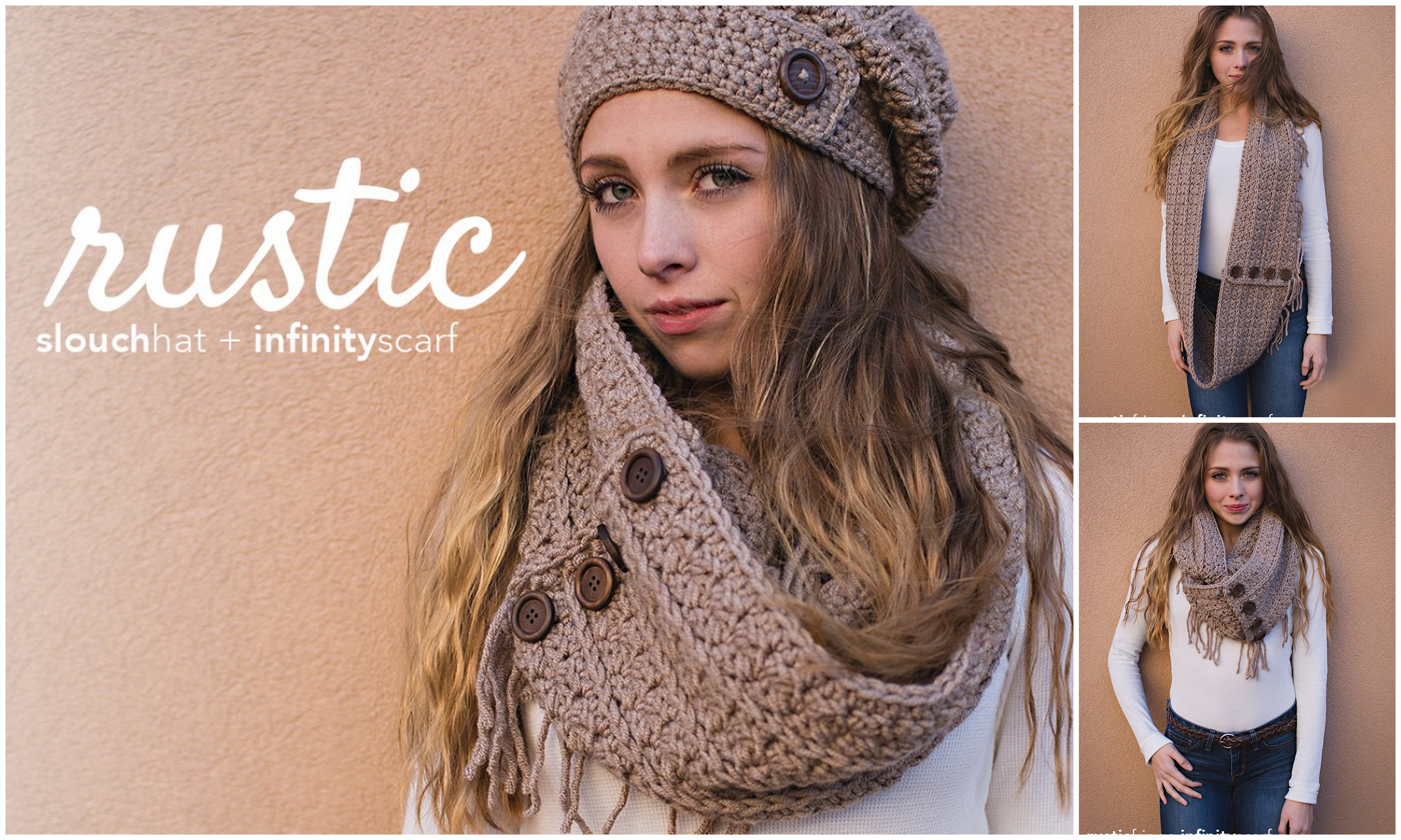 RUSTIC FRINGE INFINITY SCARF WITH HAT