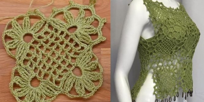 Easy Crochet Blouse with Bra Fabric