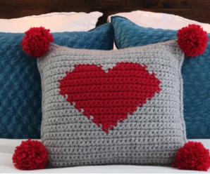 Crochet Valentines Pompom Heart Pillow