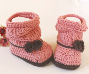 Crochet Baby Boots with Bow