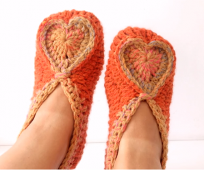 Crochet Slippers with Heart