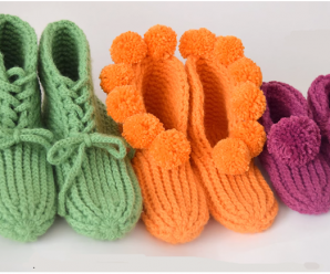 Crochet Slippers in Three Different Sizes