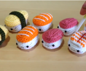How to Crochet Cute Kawaii Sushi Tutorial