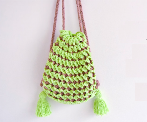 Crochet Chocolate and Mint Backpack