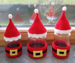 Crochet Santa Glass Cozy