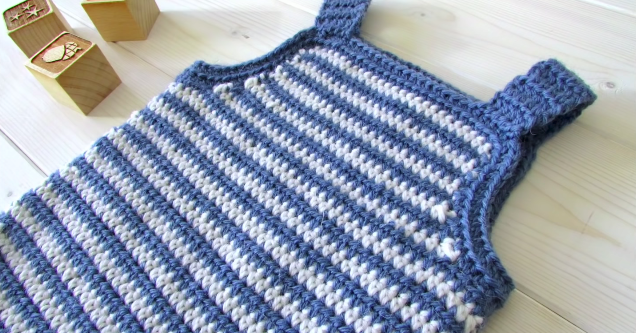 Crochet Baby Striped Romper