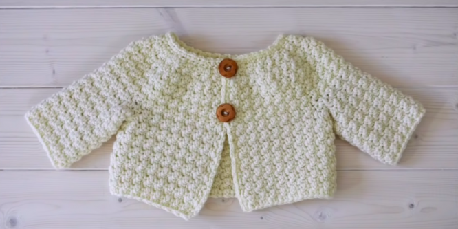 Crochet a Simple Textured Baby Cardigan