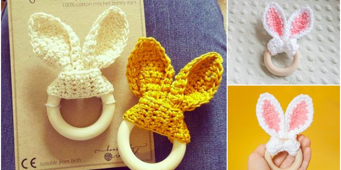Crochet Bunny Ear Teething Ring